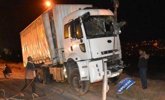 Akhisar-Gölmarmara yolunda kamyon şarampole uçtu