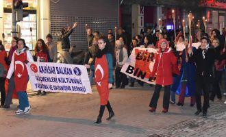 Akhisar'da teröre lanet yürüyüşü