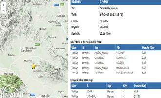 Manisa Akhisar arasında 3.7 şiddetinde deprem